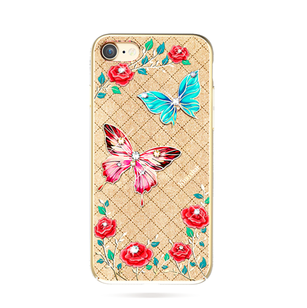 Чехол накладка Swarovski Kingxbar Fairy Land Butterfly для iPhone 7 Золото - Изображение 8199