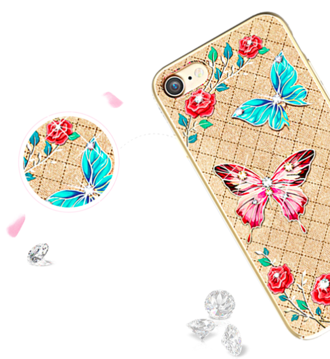 Чехол накладка Swarovski Kingxbar Fairy Land Butterfly для iPhone 7 Золото - Изображение 8201