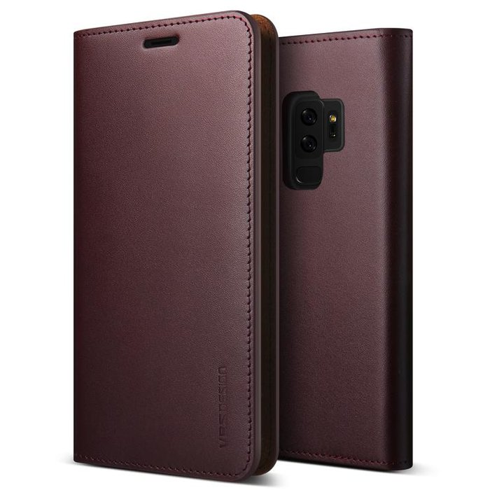 Кожаный чехол книжка VRS Design Genuine Leather для Samsung Galaxy S9 Plus Бордовый - Изображение 38562
