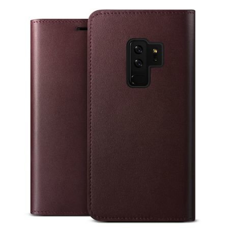Кожаный чехол книжка VRS Design Genuine Leather для Samsung Galaxy S9 Plus Бордовый - Изображение 38564