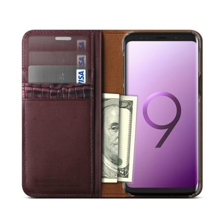 Кожаный чехол книжка VRS Design Genuine Leather для Samsung Galaxy S9 Plus Бордовый - Изображение 38570
