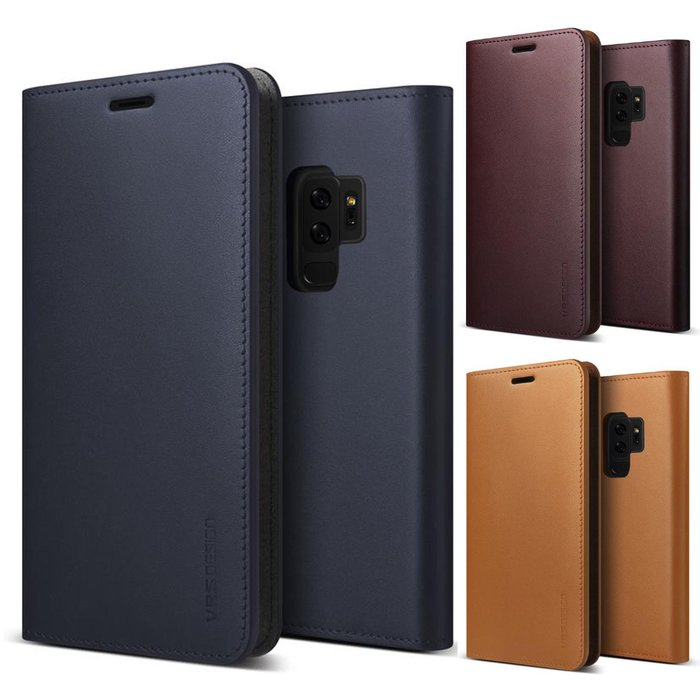 Кожаный чехол книжка VRS Design Genuine Leather для Samsung Galaxy S9 Plus Бордовый - Изображение 38572
