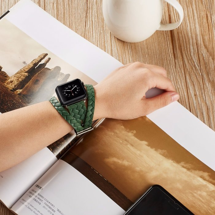 Кожаный ремешок Genuine Leather Band для Apple Watch 1 / 2 / 3 (42мм) Зеленый - Изображение 39676