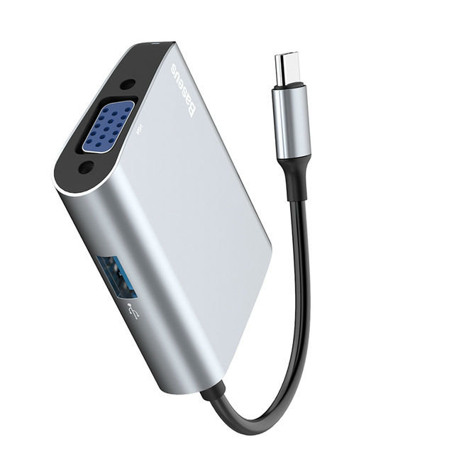 Переходник Baseus Enjoyment Series USB - Type-C + VGA Серебро - Изображение 40502