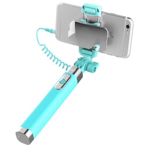 Монопод для селфи Rock Selfie Stick With Wire Control and Mirror для смартфона Голубой - Изображение 41238