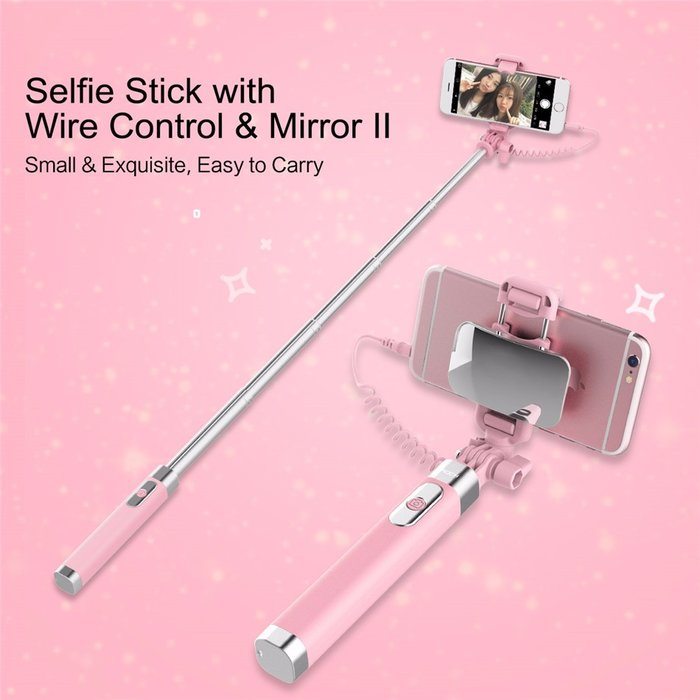 Монопод для селфи Rock Selfie Stick With Wire Control and Mirror для смартфона Голубой - Изображение 41246