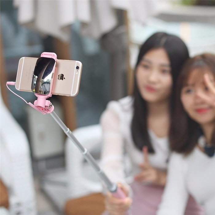 Монопод для селфи Rock Selfie Stick With Wire Control and Mirror для смартфона Голубой - Изображение 41250