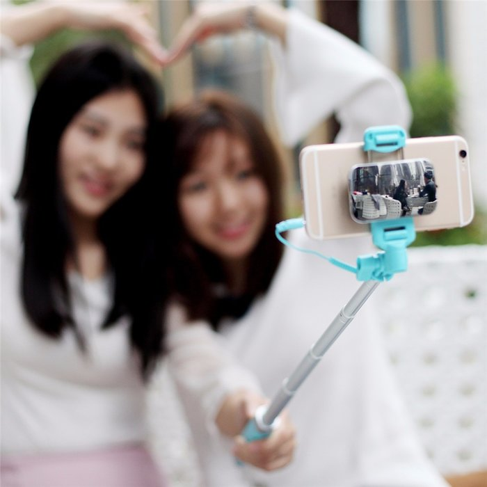 Монопод для селфи Rock Selfie Stick With Wire Control and Mirror для смартфона Голубой - Изображение 41252