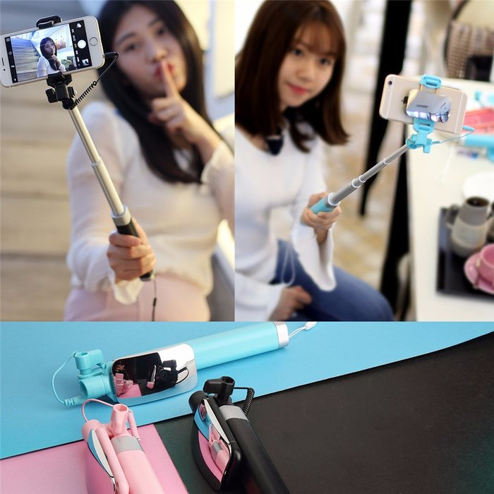 Монопод для селфи Rock Selfie Stick With Wire Control and Mirror для смартфона Голубой - Изображение 41256