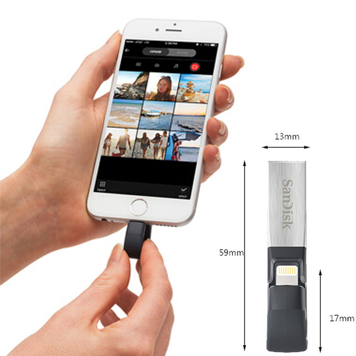 Флешка для телефона iPhone SanDisk iXpand Flash Drive USB Lightning 32GB Серебро - Изображение 60699