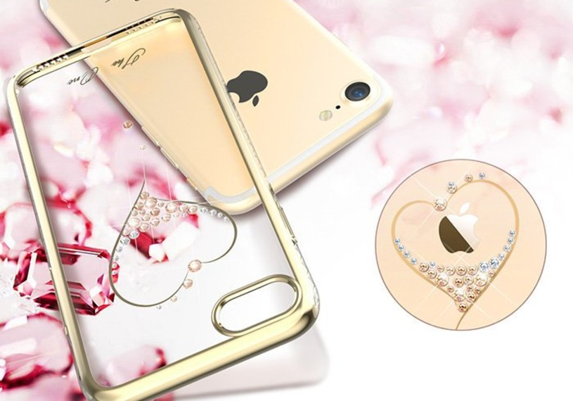 Чехол накладка Swarovski Kingxbar Starry Sky Gold Heart для iPhone 7 Plus Золото