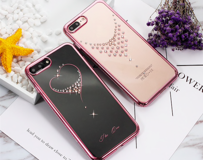 Чехол накладка Swarovski Kingxbar Starry Sky Rose Heart для iPhone 7 Plus Розовый - Изображение 100540