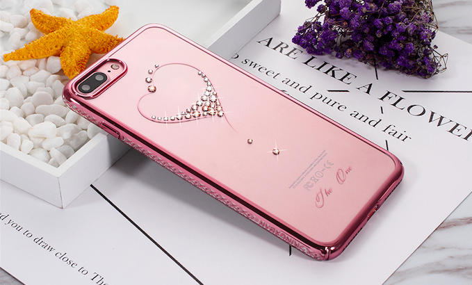 Чехол накладка Swarovski Kingxbar Starry Sky Rose Heart для iPhone 7 Plus Розовый - Изображение 100543