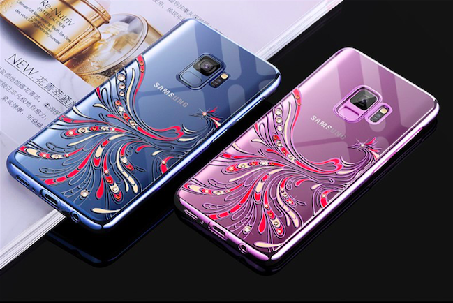 Чехол накладка Swarovski Kingxbar Flying Series для Samsung Galaxy S9 Голубой
