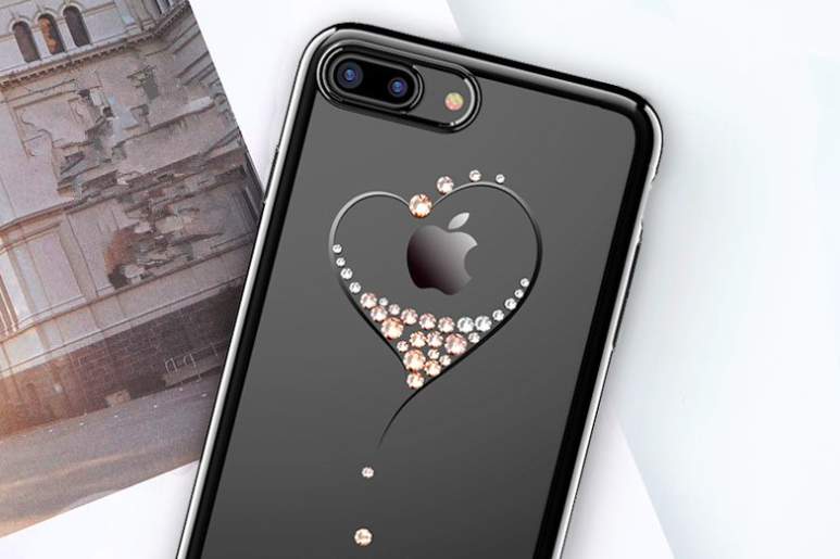 Чехол накладка Swarovski Kingxbar Starry Sky Black Heart для iPhone 7 Plus Черный