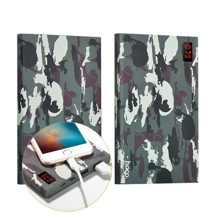 Внешний аккумулятор Power Bank Hoco Camouflage 20000 mAh Зеленый - Изображение 13991