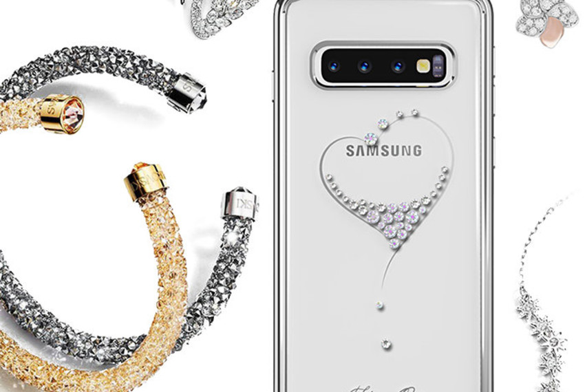 Чехол накладка Swarovski Kingxbar Wish Series для Samsung Galaxy S10 Черный
