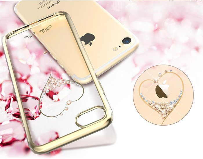 Чехол накладка Swarovski Kingxbar Starry Sky Gold Heart для iPhone 7 Золото - Изображение 16559