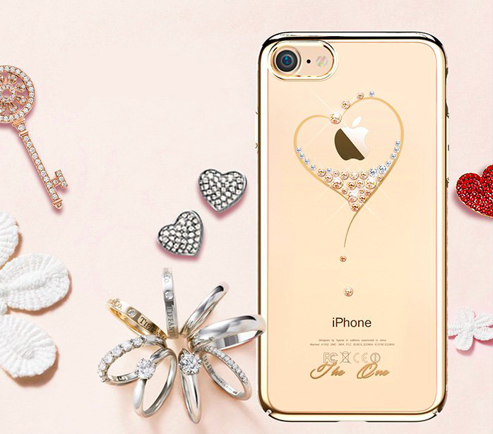 Чехол накладка Swarovski Kingxbar Starry Sky Gold Heart для iPhone 7 Золото - Изображение 16561