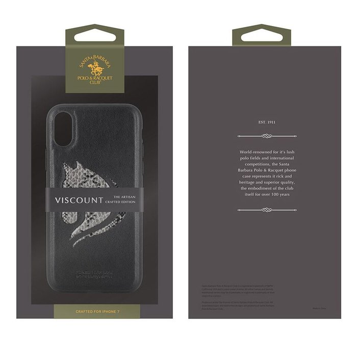 Чехол накладка Santa Barbara Polo & Racquet Club Viscount для iPhone X Черный - Изображение 23610