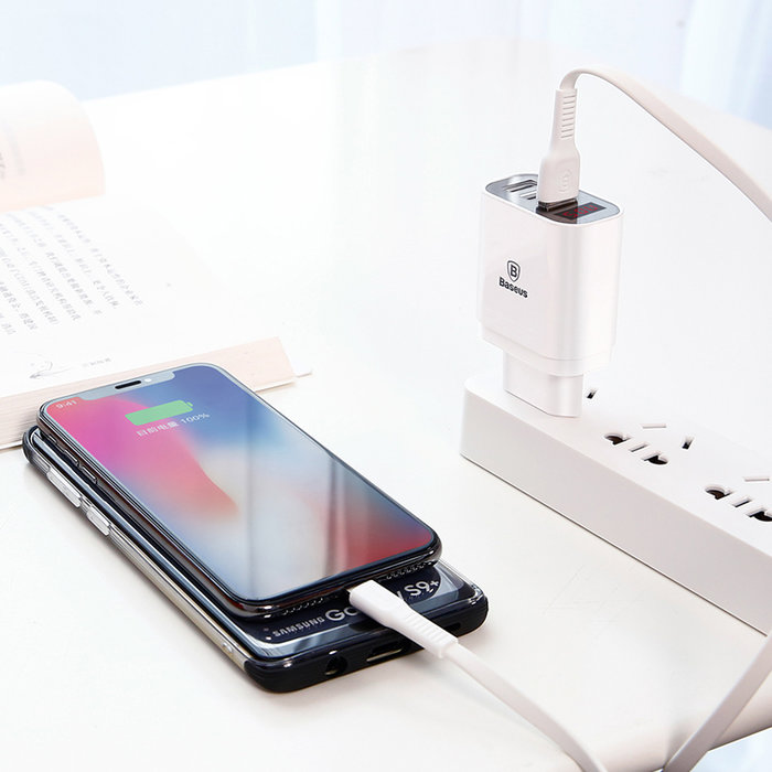 Зарядное устройство для телефона Baseus Mirror Lake Travel Charger 3 USB Белое - Изображение 116880