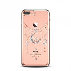 Чехол накладка Swarovski Kingxbar Twinkling Moon Rose goldдля iPhone 7 Plus Розовый