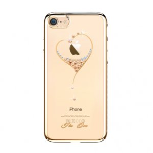 Чехол накладка Swarovski Kingxbar Starry Sky Gold Heart для iPhone 8 Золото