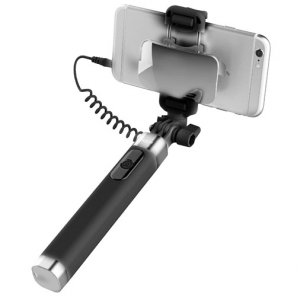 Монопод для селфи Rock Selfie Stick With Wire Control and Mirror для смартфона Черный