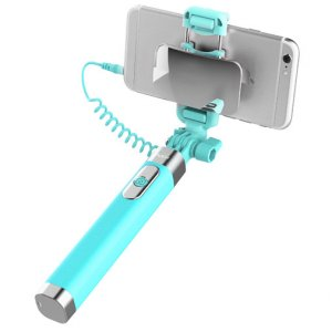 Монопод для селфи Rock Selfie Stick With Wire Control and Mirror для смартфона Голубой