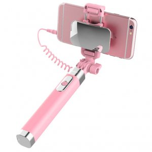 Монопод для селфи Rock Selfie Stick With Wire Control and Mirror для смартфона Розовый