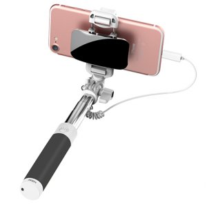 Монопод для селфи Rock Selfie Stick Lightning With Wire Control and Mirror для смартфона Черный