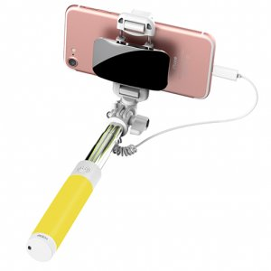 Монопод для селфи Rock Selfie Stick Lightning With Wire Control and Mirror для смартфона Желтый