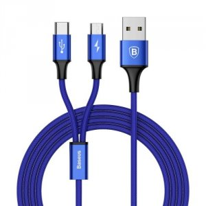 Переходник Baseus Rapid Series 2 в 1 USB - Micro-USB + Type-C 120см Синий