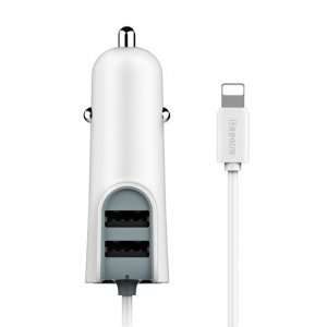 Автомобилная зарядка для iPhone Baseus Multi Car Charger 2USB + Lightning 5.5A Белая