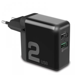 Зарядное устройство для телефона Rock T13 Dual-USB Quick Charge Чёрное