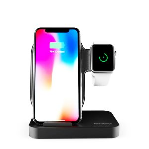 Док станция Lessmore Double Wireless Charging Dock для iPhone и Apple Watch Черная