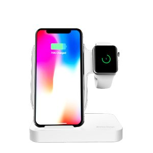 Док станция Lessmore Double Wireless Charging Dock для iPhone и Apple Watch Белая