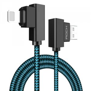 Кабель Rock Dual End L-Shape Lightning для iPhone 1м Cиний