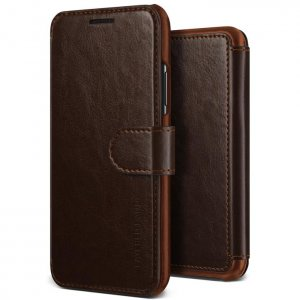Чехол книжка VRS Design Layered Dandy Case для iPhone Xs Max Коричневый