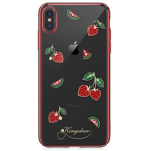Чехол накладка Swarovski Kingxbar Tropical Strawberry для iPhone Xs Max Красный